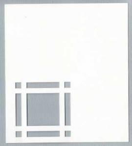 5 Passepartout -Tischkarten-A7-weiß-Hobbidee 06-filigranes Karofenster - Bild vergrößern
