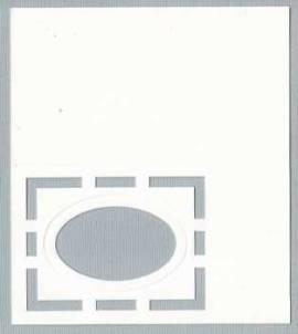 5 Passepartout -Tischkarten-A7-weiß-Hobbidee 07-Oval im filigranen Rechteck - Bild vergrößern