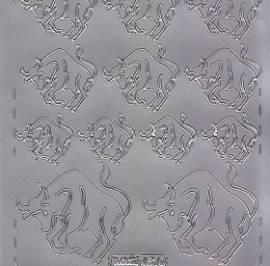 Zier-Sticker-Bogen-Sternzeichen-Stier-silber-610s - Bild vergrößern