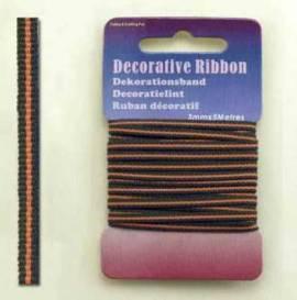 Dekoband - Ribbon -3mm - orange / grün- 5 Meter - 0116 - Bild vergrößern