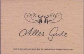 Heyda-Stempel -auf Holz montiert- Schriftzug mit Schnörkel- Alles Gute-88613 - Bild vergrößern