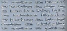 Zier-Sticker-Bogen-verschiedene Schriftzüge-silber-446s - Bild vergrößern