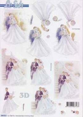 3D Stanzbogen-LeSuh 680017-Romantisches Brautpaar - Bild vergrößern