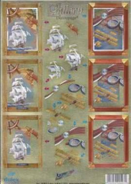 Dufex-3D-Stanzbogen-760034-Gallery, Segelboot,Doppeldecker-gravierte Motive-Alu-beschichtetes Papier - Bild vergrößern