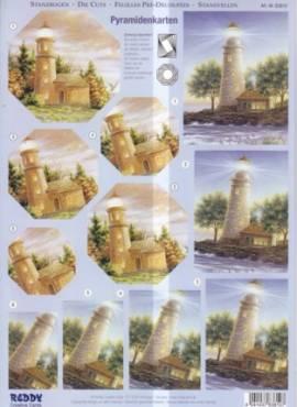 Reddy 3D Pyramiden-Stanzbogen-ST 83810-Leuchttürme - Bild vergrößern