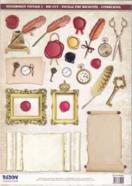 Stanzbogen - Reddy -85002- Karten-Accessoires -Vintage 2 -Schreiben - Bild vergrößern