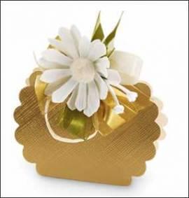 5 Kartonagen-Geschenkverpackung-Fausto-Borsa Rotonda-gold-Leinenstruktur - Bild vergrößern