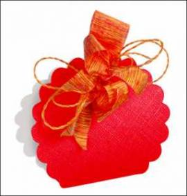 10 Kartonagen-Geschenkverpackung-Fausto-Borsa Rotonda-rot-Leinenstruktur - Bild vergrößern
