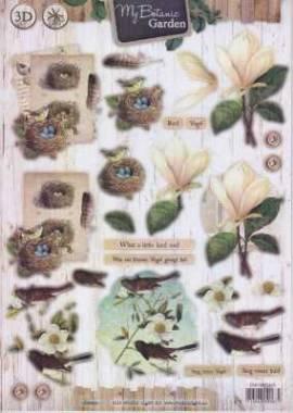 3D Stanzbogen -EASY426 - My Botanic Garden- Vogelnest - Vogel auf Ast - Bild vergrößern