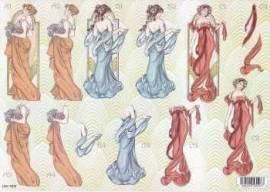 3D Stanzbogen- Line 1003 -Antike Frauen-mit Goldfolie veredelt - Bild vergrößern