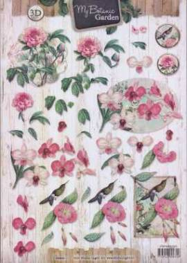 3D-Etappen-Bogen-My Botanic Garden - Blüten in rosa -STSL 1323 - Bild vergrößern