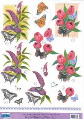 3D Etappen-Bogen-Blumen- Schmetterling-Top 1 - Bild vergrößern