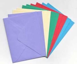 10 Brief-Umschläge/Kuverts-U-016-5 Farben-für Minikarten - Bild vergrößern