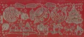Zier-Sticker-Bogen-Weihnachtsmotive-rot/gold-W 0190rg - Bild vergr��ern
