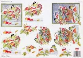 3D Bogen-Etappenbogen-Vögel im Winter-Beerenkorb- Wekabo 757 - Bild vergrößern