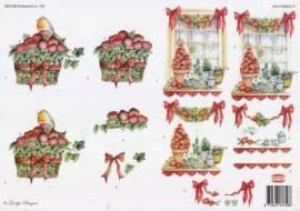 3D Etappen-Bogen-Wekabo 759-Herbstlicher Korb-Weihnachtsfenster  - Bild vergrößern