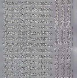 Zier-Sticker-Bogen-Frohe Weihnachten-kleine Schrift-silber-W 0582s - Bild vergrößern