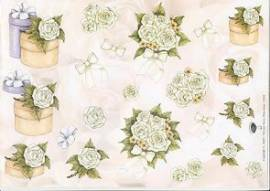 3D Bogen Brautstrauß / weiß Rosen-v.V.2236 - Bild vergrößern