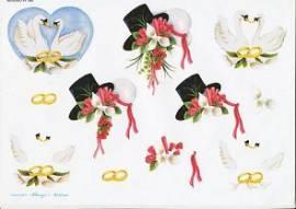 3D Bogen Brautstrauß / Zylinder / Schwäne-WEBO 480 - Bild vergrößern