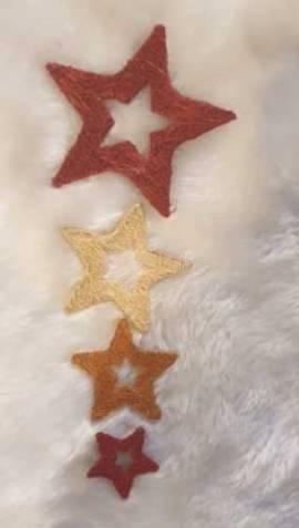 4er Set * Sisal-Sterne * Nr.15 - 5 / 7,5 / 10 / 15cm - verschiedene-Farben - Bild vergrößern