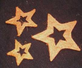 3er Set * Sisal-Sterne * Nr.21 - 15 / 10 / 7,5 cm- zimt - Bild vergrößern