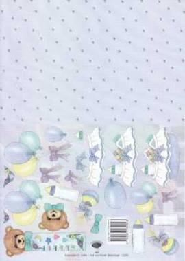 3D Etappen-Bogen Baby-Motiv mit Hintergrundpapier-blau -v.V.2251 - Bild vergrößern