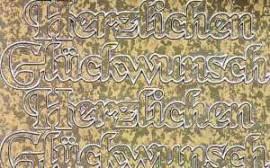 Zier-Sticker-Bogen-2429Ag-Herzlichen Glückwunsch-antik-gold - Bild vergrößern