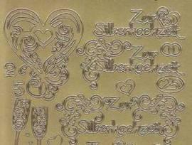 Zier-Sticker-Bogen-Zur Silberhochzeit-gold-3377g - Bild vergrößern