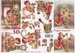 3D-Etappen-Bogen-nostalgischer Weihnachtsmann/Teddy-4169526