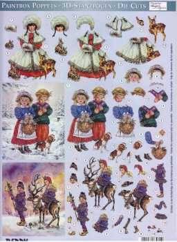 3D Stanzbogen-Paintbox Poppets-83062-Schneeprinzessin, Winterwanderungen