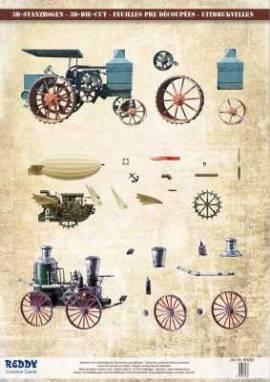 3D Stanzbogen-Reddy Cards-Twinpacks-89083- Traktor-Dampfmaschine-Luftschiff - Bild vergrößern