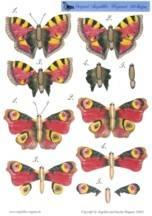 3D Etappenbogen- Schmetterlinge rot -Angelika Wagener-AW2004