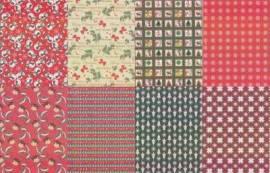 Motiv-Kartenpapier/Karton - TKK 09 - weihnachtliche Muster/Motive mit Glimmer-ca.260g-8 Blatt-A5