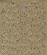Zier-Sticker-Bogen-Turteltauben-Tauben-Paare-gold-0130g