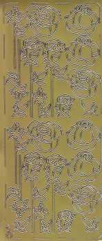 Zier-Sticker-Bogen-Rosen -gold- 0058g
