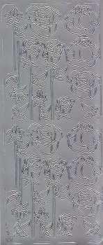 Zier-Sticker-Bogen-Rosen -silber- 0058s