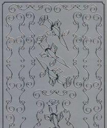 Spiegelsticker-Bogen-065sps-Rosen und Ränder-silber