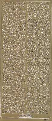 Zier-Sticker-Bogen-kleine Blüten-gold-0092g