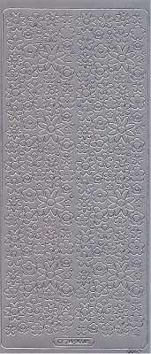 Zier-Sticker-Bogen-kleine Blüten-silber-0092s