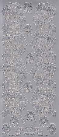 Zier-Sticker-Bogen-Rosen- silber-0114s