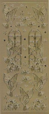 Spiegelsticker-Bogen-121spg-Friedenstaube -gold