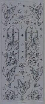 Spiegelsticker-Bogen-121sps-Friedenstaube -silber