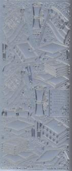 Zier-Sticker-Bogen-Motive für Schule-Prüfung-Abi-silber-125s