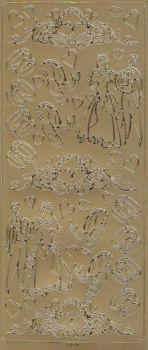 Spiegelsticker-Bogen-125spg-Brautpaar-Ringe-Glocken-gold
