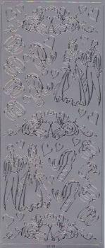Spiegelsticker-Bogen-125sps-Brautpaar-Ringe-Glocken-silber