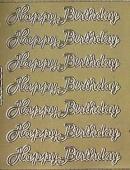 Zier-Sticker-Bogen-0171g-Happy Birthday-gold