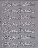 Zier-Sticker-Bogen-Happy Birthday-silber-171s