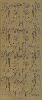 Spiegelsticker-Bogen-178spg-tanzendes Brautpaar-Ringe-gold