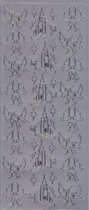Spiegelsticker-Bogen-181sps-Kirche-Tauben-silber