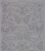 Zier-Sticker-Bogen-christliche Motive-Ähren,Bibel,Trauben-silber-0197s